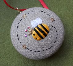 Hot of the sewing table.Queen Bee Hand Embroidered Christmas Tree Keepsake by themasonbee, Bee Embroidery, Embroidery Patterns, Fabric Crafts, Sewing Crafts, Mason Bees, Bee Crafts, Felt Ornaments, Queen Bees, Xmas Tree
