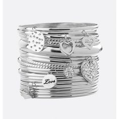 Avenue Heart Charm Bangle Set ($6.40) ❤ liked on Polyvore featuring jewelry, bracelets, plus size, silver, artificial jewellery, charm bangles, hinged bangle, heart shaped jewelry and charm jewelry