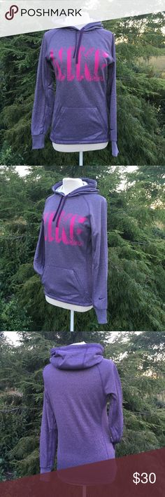 NWOT NIKE hooded pull over New without tags's Nike Therma-Fit pullover with hood Nike on font is ironed on but, swoosh on the sleeve and Therma-Fit are both embroidered.  Size extra small  Kangaroo pocket on front 100% polyester Color is purple and pink   NWOT No stains, snags, or other damage Non smoking environment   Not the right size ,color or style you're looking for check out Molly's closet  Thanks for Looking , Molly M831/W1 Nike Jackets & Coats