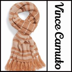 """Scarf Stripe Thermal Scarf Fringe Trim NEW WITH TAGS RETAIL PRICE: $58  Scarf Stripe Thermal Scarf Fringe Trim  * Allover striped print   * Tassel fringe trim  * Approx 12"""" W X 74"""" L; 6"""" fringe  * Oversized style  * Super soft fabric  * Boho vibe   Material: 100% acrylic  Color: Camel-Ivory Item#:  Cape wrap No Trades ✅ Offers Considered*✅ *Please use the blue 'offer' button to submit an offer. Vince Camuto Accessories Scarves & Wraps"""