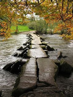 The Crossing - Ancient bridge over the ford at Tarr Steps, Devon, England. A truly peaceful and quiet retreat in the English countryside. Oh The Places You'll Go, Places To Visit, Devon England, Devon Uk, Somerset England, North Devon, Cornwall England, All Nature, English Countryside
