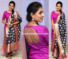 Madhu Shalini in a pink salwar – South India Fashion Churidar Designs, Kurti Neck Designs, Dress Neck Designs, Blouse Designs, Salwar Dress, Anarkali, Salwar Suits, Salwar Kameez, Ethnic Outfits