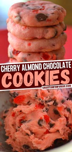 Love baking special holiday desserts? Add these Maraschino Cherry Almond Chocolate Cookies on your list! Not only are these pretty-in-pink treats quick and easy to make, but they are also gorgeous and delicious. Perfect for gift-giving! Pin this recipe for later! Easy Cookie Recipes, Sweet Recipes, Baking Recipes, Dessert Recipes, Breakfast Recipes, Yummy Recipes, Recipies, Semi Sweet Chocolate Chips, Almond Chocolate