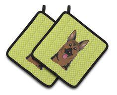 Checkerboard German Shepherd Potholder