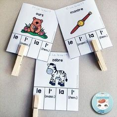 French Parts of Speech Resources: les classes de mots. Posters with 8 French parts of speech and fun practice with clip cards! Teaching French, Teaching Spanish, Teaching Kids, Montessori, French Flashcards, Inquiry Based Learning, Learning Games, French Grammar, French Language Learning
