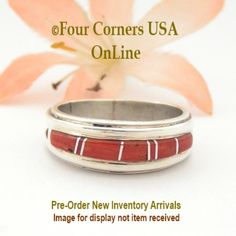 Four Corners USA Online - Size 10 1/2 Pre Order Red Coral Inlay Ring Native American Wilbert Muskett Jr WB-1642, $135.00 (http://stores.fourcornersusaonline.com/size-10-1-2-pre-order-red-coral-inlay-ring-native-american-wilbert-muskett-jr-wb-1642/)