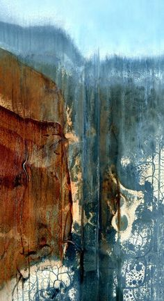 Contemporary abstract waterfall landscape created from a digital image of a rusty and weathered metal surface. The high quality giclee is printed in the studio using archival pigment inks on acid free