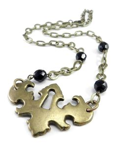 Antique Brass Keyhole Choker Style Necklace