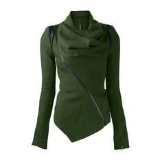 Zipper Closure Asymmetric Hem Dark Green Jacket ($31) ❤ liked on Polyvore featuring outerwear, jackets, green, pattern jacket, green jacket, zip jacket, dark green jacket and long sleeve jacket