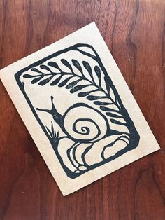 This lovely image of a snail taking a bit of shade under a fern frond is an original linoleum block printed design. Printed on a natural brown card, its ready for your happy message inside Stamp Printing, Screen Printing, Arte Peculiar, Lino Art, Linoleum Block Printing, Stamp Carving, Linocut Prints, Art Prints, Linoprint