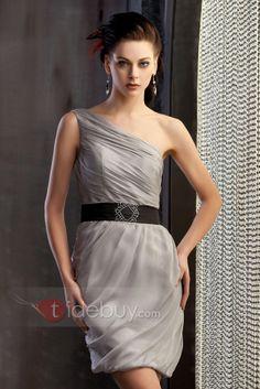 ced65a5ff8 Pretty Column One Shoulder Mini Length Belt Polina s Prom Cocktail Dress
