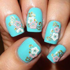 Pink & White flower nails stickers from Born Pretty Store #wendystanbury #bluemani #nailart #nails - bellashoot.com
