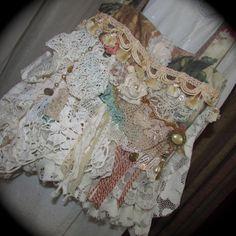 Romantic purse Victorian handbag, shabbys chic embellished, ooak velvet fabric bag handmade vintage tattered laces doilies beads buttons