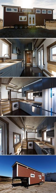 The Lookout from Tiny House Chattanooga Love the elevated living space and hidden washer. Design Exterior, Interior Exterior, Interior Design, Interior Decorating, Small Room Design, Tiny House Design, Tiny House Living, Cozy House, Living Room