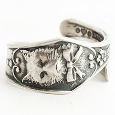 Silver Cat Ring Sterling Silver Spoon Ring Kitty Ring by Spoonier
