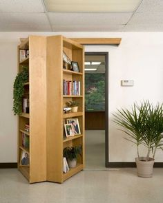 bookcases on piano hinges.   Would be awesome infront of a closet!!