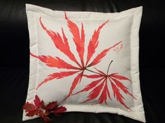 "Japanese Maple pillow 20"" square autumn leaf leaves lace leaf tree painted foliage indoor outdoor all weather throw pillow handpainted"