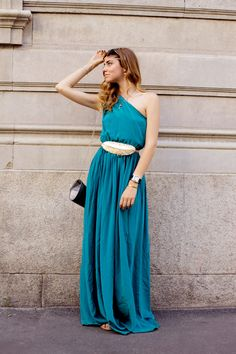 Teal one shoulder full legth dress with gold feather belt #fashion #style #street #streetstyle