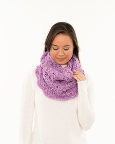 Lilac Light Lacy Crochet Cowl Handmade by BrennaAnnHandmade
