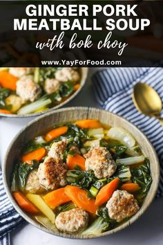 GINGER PORK MEATBALL SOUP WITH BOK CHOY - Ginger is the star of this delicious simple and comforting pork meatball soup recipe where tender bok choy is cooked in a savoury flavourful broth. Chili Recipes, Pork Recipes, Asian Recipes, Ethnic Recipes, Chinese Recipes, Filipino Recipes, Meatball Recipes, Yummy Recipes, Yummy Food