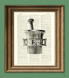 RX Pharmacy MORTAR and PESTLE illustration beautifully upcycled dictionary page book art print. $7.99, via Etsy.