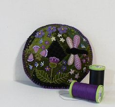 Handmade Purple Summer Garden Dragonfly Felted Wool
