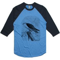 theIndie Bird on the Lookout (Black) 3/4-Sleeve Raglan Baseball T-Shirt
