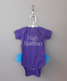 Take a look at this Purple 'High Maintenance' TuTushie Bodysuit - Infant by Klassy Kouture on #zulily today!