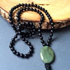 Black Matte Onyx Meditation Mala Beads with Jasper Guru Bead Prayer Necklace by MalaBlessingsbySarah on Etsy