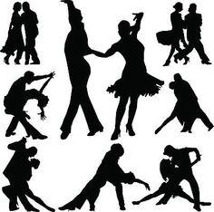 Ballroom Dancers Silhouette Vinyl Wall Art Sticker Dancing Couple Tango Teacher
