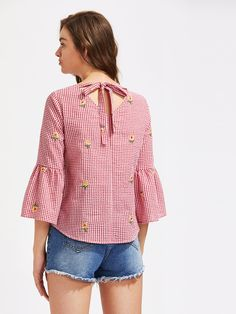 Shop V Cut Tie Back Bell Sleeve Daisy Embroidered Checkered Top online. SheIn offers V Cut Tie Back Bell Sleeve Daisy Embroidered Checkered Top & more to fit your fashionable needs. Frocks For Girls, Spring Shirts, Couture Tops, Fashion Moda, V Cuts, Casual Summer Outfits, Indian Designer Wear, Casual Tops, Blouse Designs
