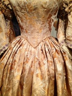 """Dazzling! #Gold #silk #brocade dress, 1855-65 """"Profiles: Chester County Clothing of the 1800s"""" on view through August 2014 #chestercountyhistoricalsociety"""