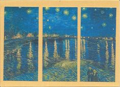 Post card of Van Gogh's Starry Night cut in thirds and framed on a gold note card.