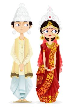 Illustration about Easy to edit vector illustration of Bengali wedding couple. Illustration of female, element, culture - 30667901 couple anime Bengali Wedding Couple stock vector. Illustration of ceremony - 30667901 Bengali Culture, Bengali Art, Bengali Bride, Bengali Wedding, Indian Wedding Cards, Indian Illustration, Wedding Illustration, Couple Illustration, Wedding Couple Cartoon