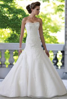 Brides: David Tutera for Mon Cheri. Classic, strapless, lace and organza wedding dress. A-line, with floor length hemline.