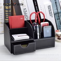 Office Desk organizer Remote control holder Desktop storage box Pen holder Leather mobile phone case DGNSNH-4