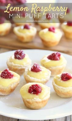 Lemon Raspberry Mini Puff Pastry Tarts 21 Easy Puff Pastry Recipes That Will Class Up Every Party Mini Desserts, Lemon Desserts, Lemon Recipes, Tart Recipes, Just Desserts, Sweet Recipes, Pastries Recipes, Dessert Tarts Mini, Tea Party Desserts