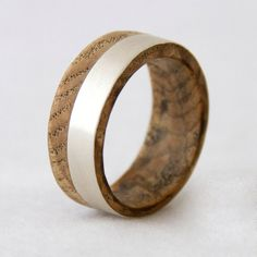 wood wedding band with silver line black ash wood by aboutjewelry