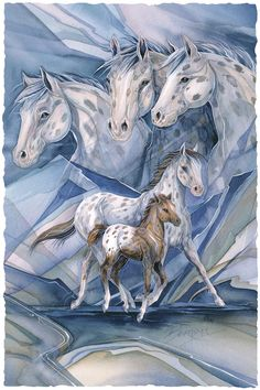 Bergsma Gallery Press :: Paintings :: Nature :: Horses :: We Are The Spirit Of The Clouds - Painting