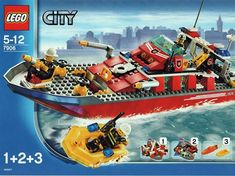 LEGO 7906 Fireboat instructions displayed page by page to help you build this amazing LEGO City Police Rescue set Lego City Garage, Lego City Fire Truck, Lego City Police, Legos, Lego Cops, Modele Lego, Lego Village, Lego Birthday Party, Baby Birthday