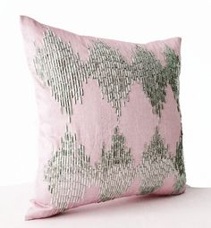 Pink Decorative Throw Pillow Cover Metallic Silver by AmoreBeaute