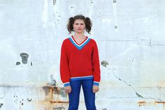 Red 70s sweater by Troll2Treasure on Etsy