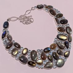 .925 Sterling silver natural labradorite+bt Necklace g974 185gm #Handmade #Necklace