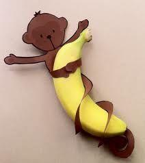 Lekkere banaan met een aap eromheen