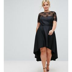 Chi Chi London Plus High Low Midi Skater Dress With Lace Neckline ($100) ❤ liked on Polyvore featuring dresses, black, plus size high low dresses, plus size bridesmaid dresses, high low bridesmaid dresses, plus size cocktail dresses and plus size lace dress