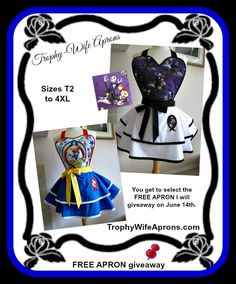 ☀ SAVE it to WIN it ☀  ☀I will giveaway another apron on June 14th 2015 - The lucky girl will get to select the apron she want.  Adult sizes starting @ $69.00 - Vintage inspired #sexy flirty funky #hostess aprons for woman - Custom made or readymade aprons -Sizes T2 to adult 4XL ☀ ☀ I give 1 FREE HOSTESS APRON EVERY MONTH ☀ ☀ CLICK here for details==> www.TrophyWifeAprons.com
