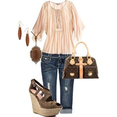 Day on the Town - comfy outfit, great LV bag and wedge heels!