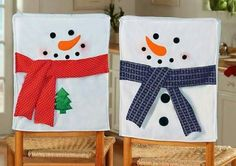 Snowman chair back covers Christmas Sewing, Christmas Projects, Christmas Home, Christmas Holidays, Christmas Ornaments, Chair Back Covers, Chair Backs, Snowman Crafts, Holiday Crafts