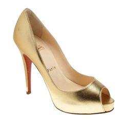 Christian Louboutin Very Prive 120 Leather Peep Toe Pumps Gold