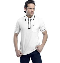 PERRY ELLIS - THE EARL POLO  Cool, comfortable and classic are the three words to describe this ice blue polo tee. You can't go wrong with a color and style like this. Team it with navy blue jeans or even dark blue ones.